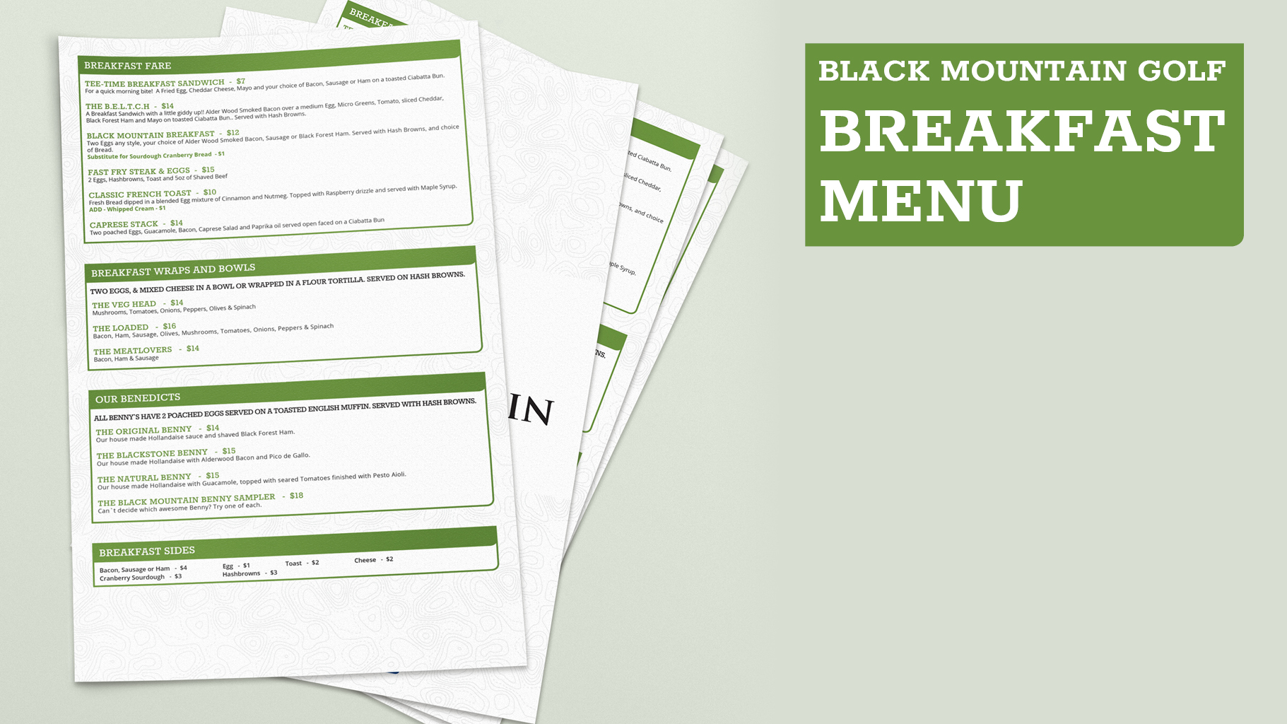 Black Mountain Breakfast Menu
