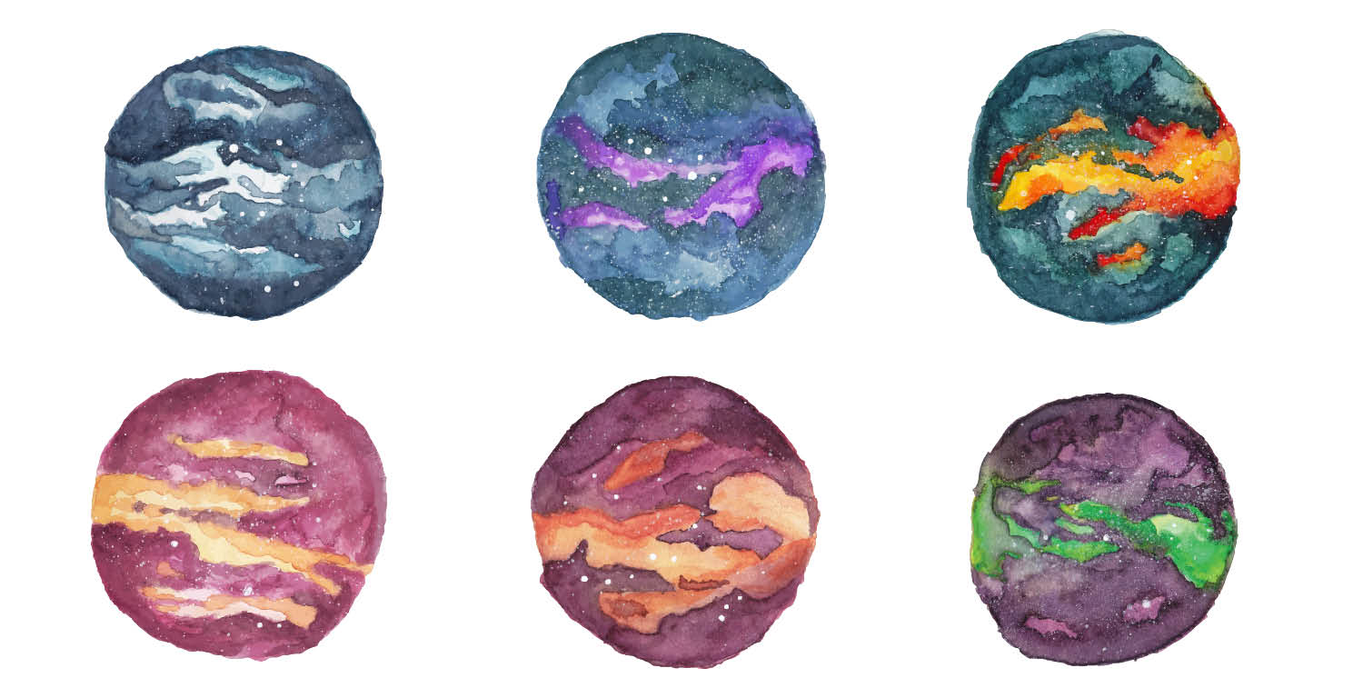 Watercolor Galaxy 6 versions